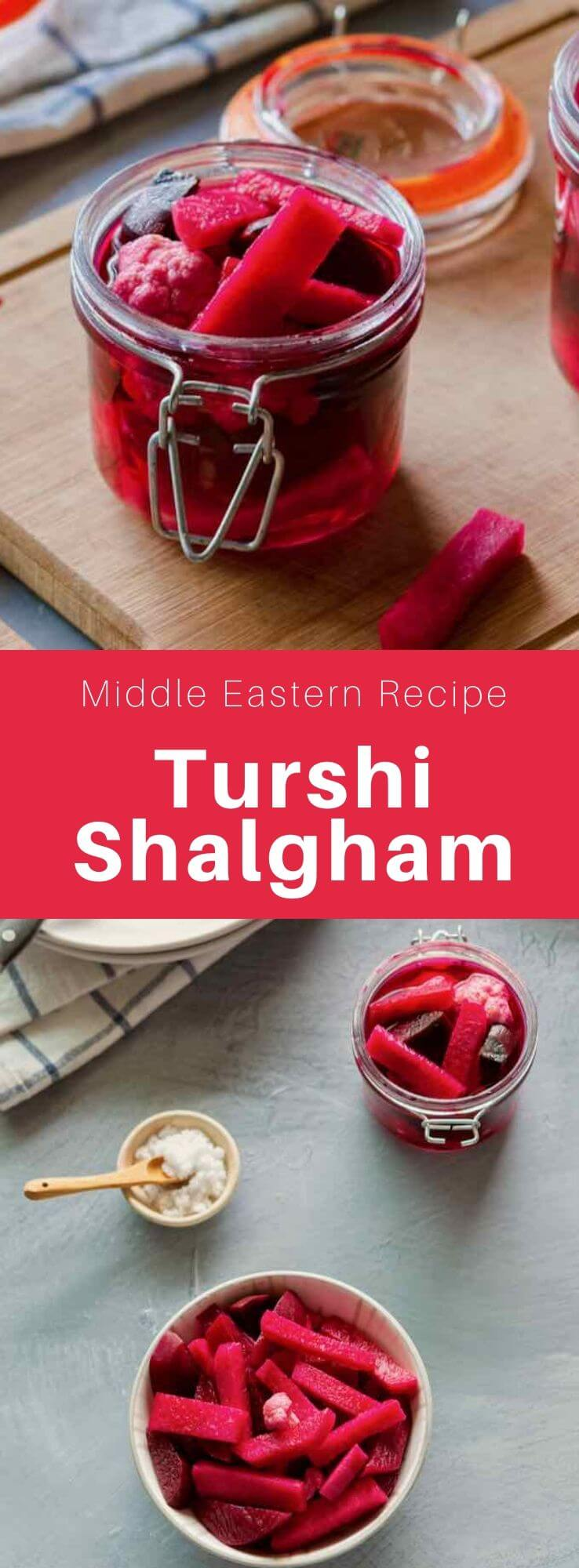 Turshi shalgham is a traditional Iraqi variety of pickles mainly made from pickled turnip and topped with cauliflower and beetroot. #MiddleEast #MiddleEastern #Iraq #IraqiCuisine #IraqiRecipe #WorldCuisine #196flavors