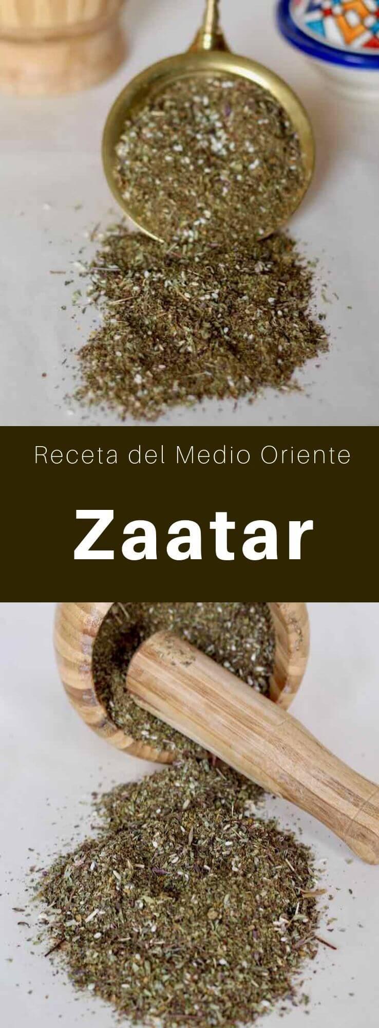 El zaatar, una mezcla de especias tradicionales del Medio Oriente, incluye tomillo, hisopo, orégano, mejorana, ajedrea, zumaque y semillas de sésamo.