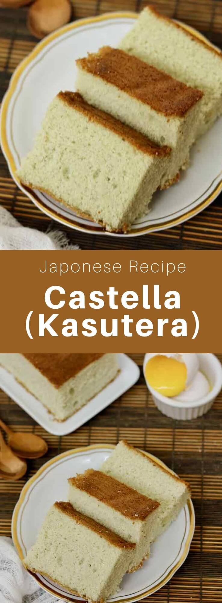Castella or kasutera (カステラ) is a Japanese sponge cake made from sugar, flour, eggs and mizuame (malt syrup) imported by Portuguese missionaries in Nagasaki in the 16th century. #Japan #Japanese #JapaneseFood #JapaneseCuisine #JapaneseRecipe #AsianCuisine #AsianFood #AsianCuisine #WorldCuisine #196flavors