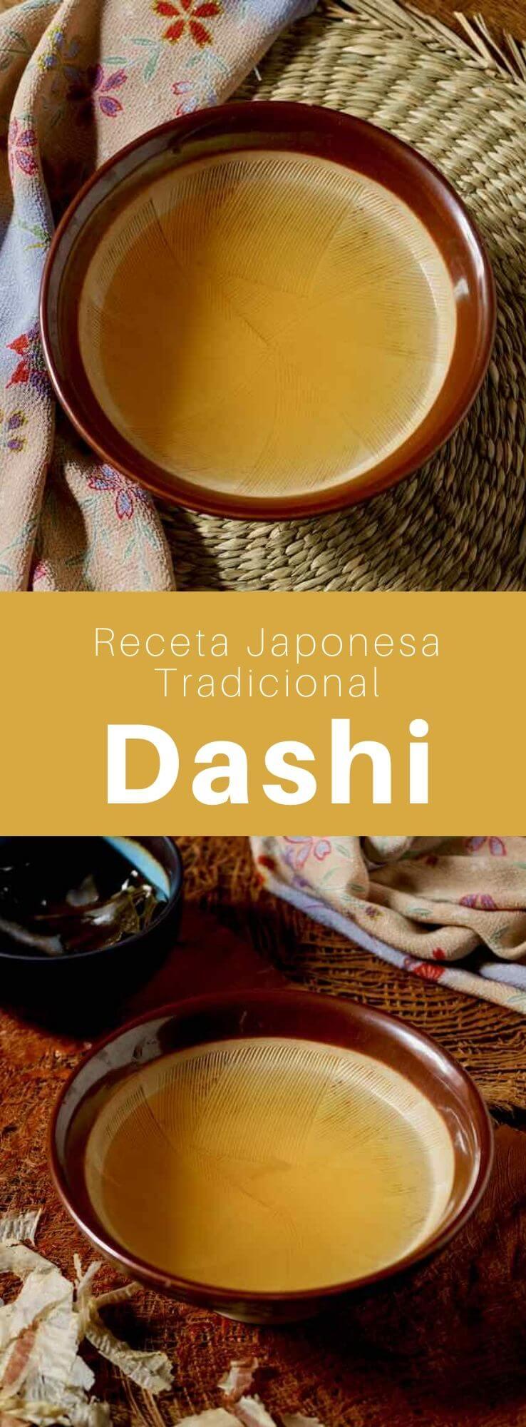 El dashi (出 汁) es un delicioso caldo de algas konbu y katsuobushi (copos de bonito secos) que es un elemento básico en la cocina japonesa.