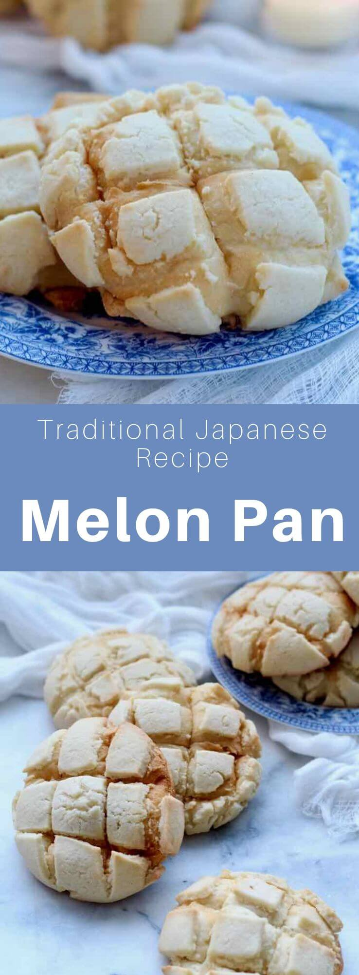 Melon pan or melonpan is a Japanese baking specialty whose inside consists of brioche with an outer cookie crust reminiscent of the melon texture. #Japan #Japanese #JapaneseFood #JapaneseCuisine #JapaneseRecipe #AsianCuisine #AsianFood #AsianCuisine #WorldCuisine #196flavors
