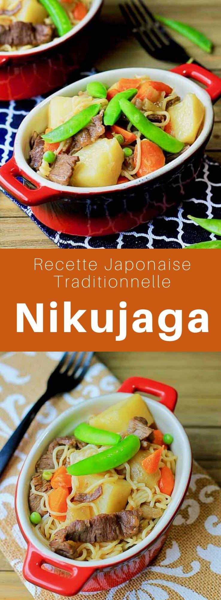 """Le nikujaga (肉じゃが), signifiant """"viande et pomme de terre"""" est un plat japonais principalement composé de viandes, pommes de terre et oignons cuits dans un bouillon de dashi. #Japon #CuisineJaponaise #RecetteJaponaise #CuisineDuMonde #196flavors"""