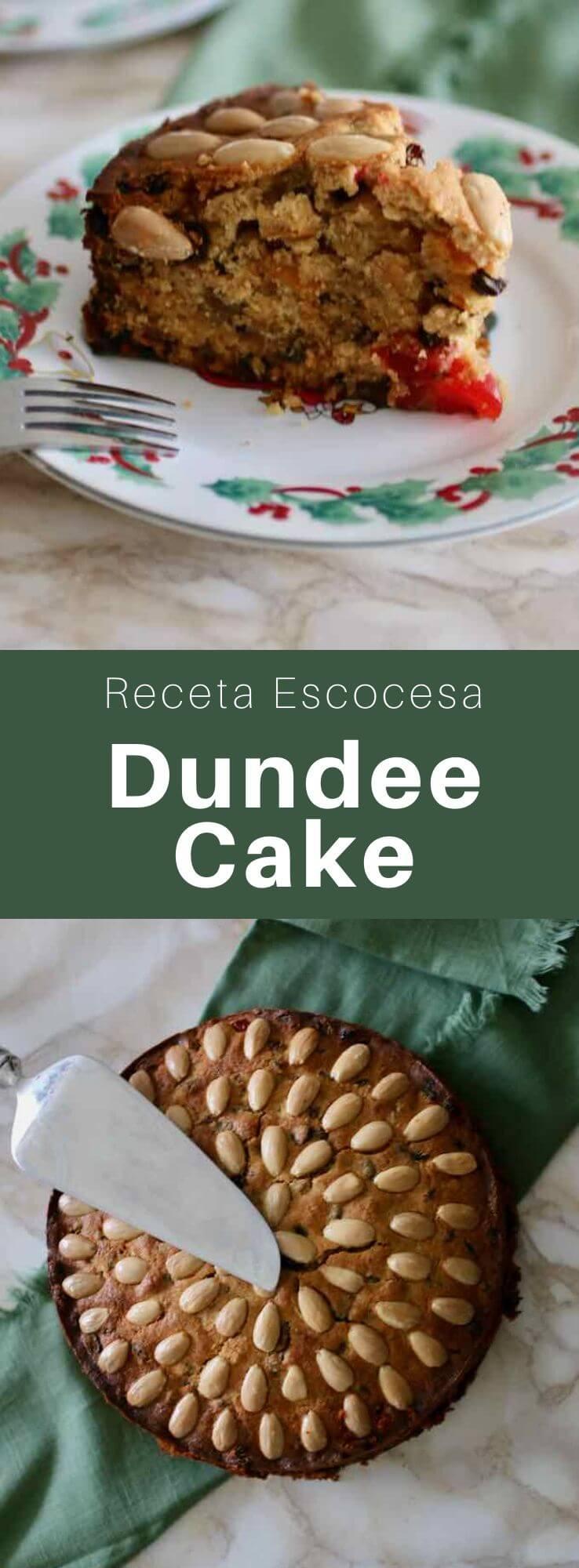 El Dundee cake es un pastel tradicional escocés, popular en todo el Reino Unido, hecho con mermelada de naranja, pasas, frutas confitadas y almendras.