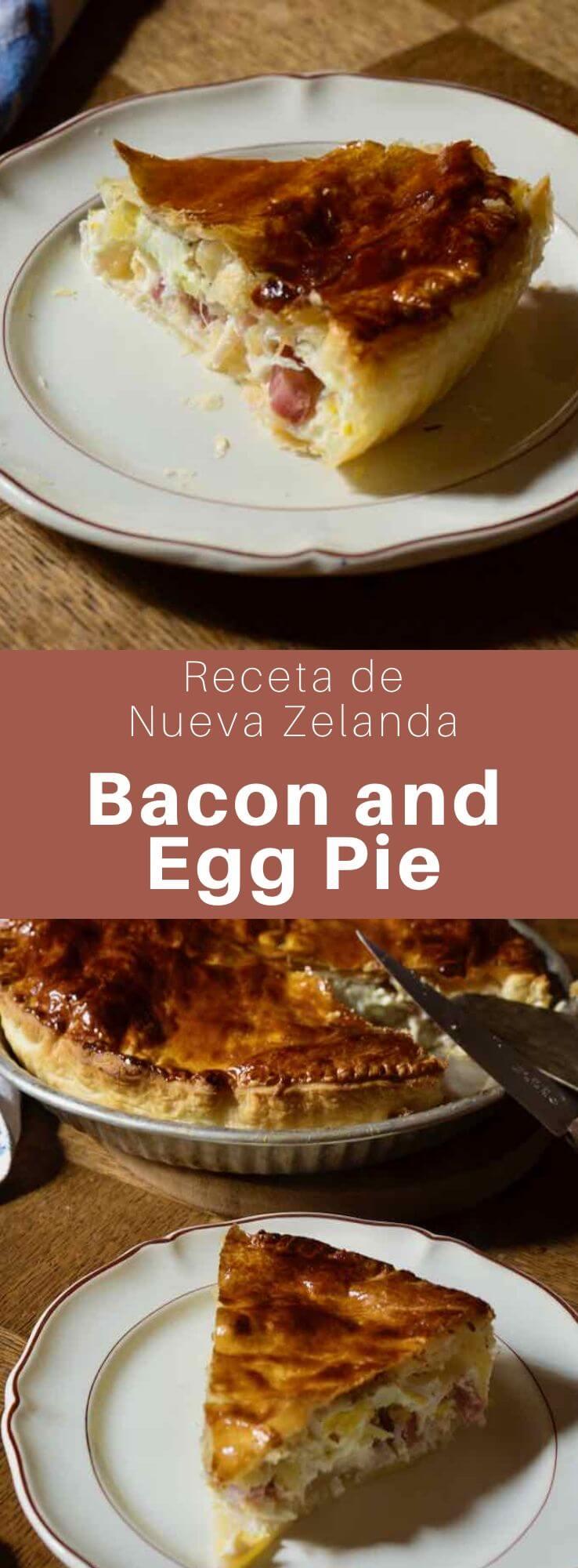 El bacon and egg pie es una tarta salada tradicional de Nueva Zelanda hecha con una corteza de hojaldre que contiene principalmente tocino y huevos.