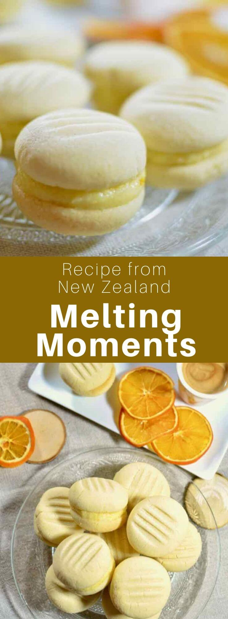 Melting moments are small shortbread cookies with a cream filling, frequently flavored with lemon or orange, that are popular in New Zealand. #NewZealand #WorldCuisine #196flavors