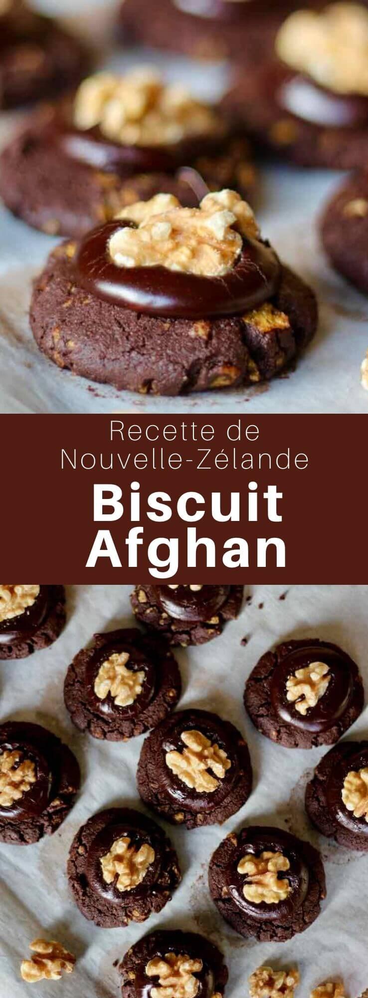 Le biscuit afghan est un délicieux biscuit chocolaté avec un glaçage au chocolat surmonté de noix, populaire en Nouvelle-Zélande. #NouvelleZelande #CuisineDuMonde #196flavors