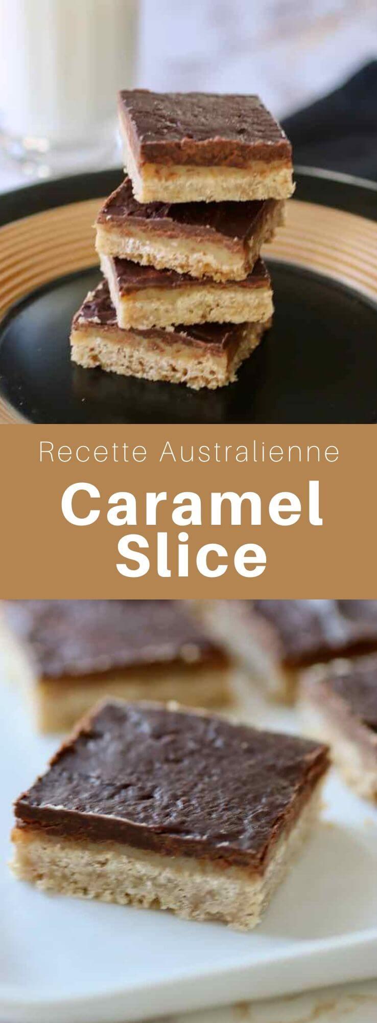 Le caramel slice australien est une couche de caramel prise en sandwich entre un sablé et du chocolat. Il est appelé millionaire's shortbread en Écosse. #Australie #RecetteAustralienne #CuisineDuMonde #196flavors