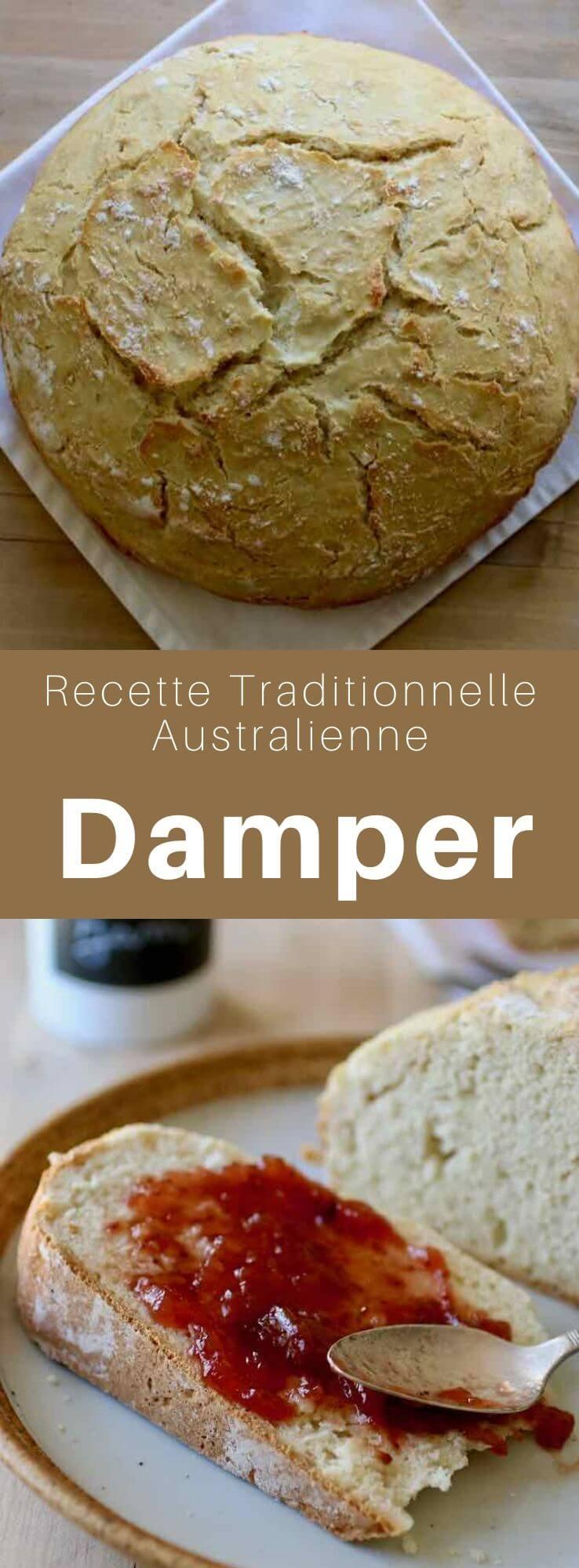 Le damper ou bush bread est un délicieux pain australien sans levain traditionnellement cuit sur des charbons ardents mais qui peut aussi être cuit au four. #Australie #RecetteAustralienne #CuisineDuMonde #196flavors