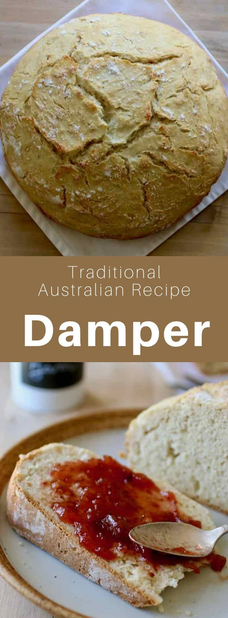 The damper or bush-bread is a delicious unleavened Australian bread traditionally baked on hot coals but which can also be baked in the oven. #Australia #WorldCuisine #196flavors