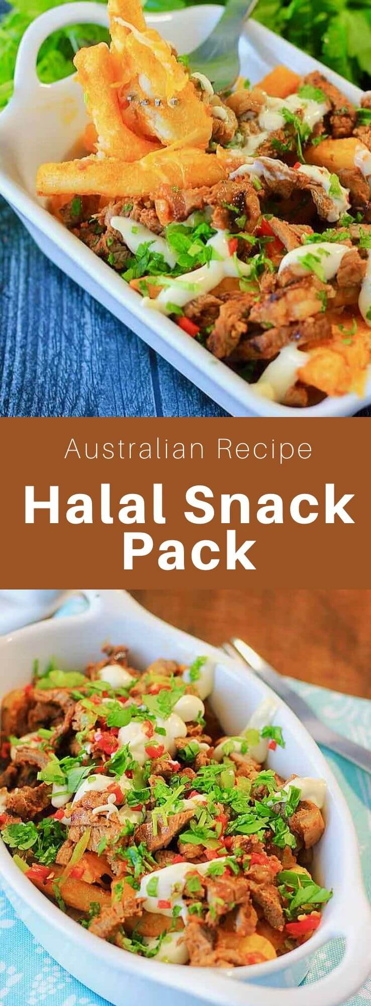 The halal snack pack is a dish that was created in Australia with origins from the Middle East, composed of halal meat (lamb, chicken, or beef), fries, cheese and various sauces. #Australia #WorldCuisine #196flavors