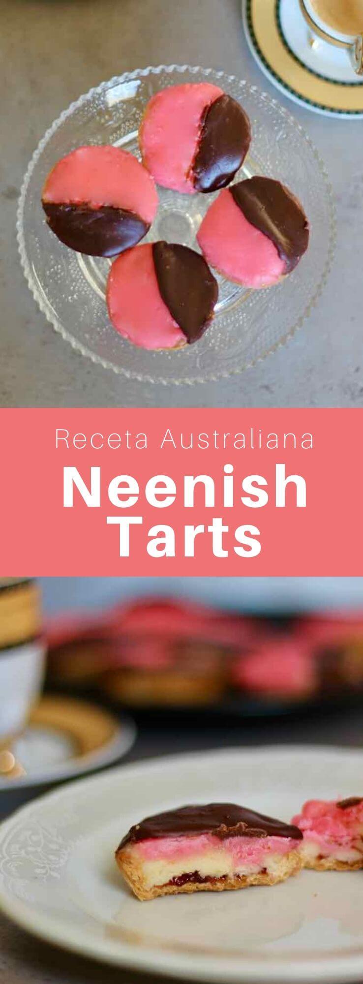 La neenish tart es una tartaleta hecha con un relleno de crema de gelatina y cubierta con un glaseado de dos colores que es popular en Australia y Nueva Zelanda.