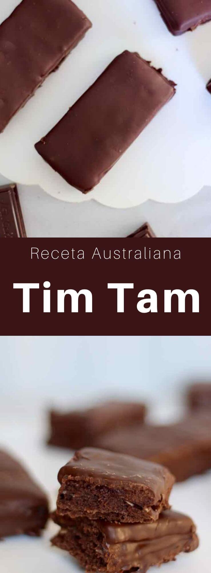 El Tim Tam es una popular galleta australiana, compuesta por una crema de chocolate malteada intercalada entre dos galletas de chocolate y cubierta con chocolate con leche.
