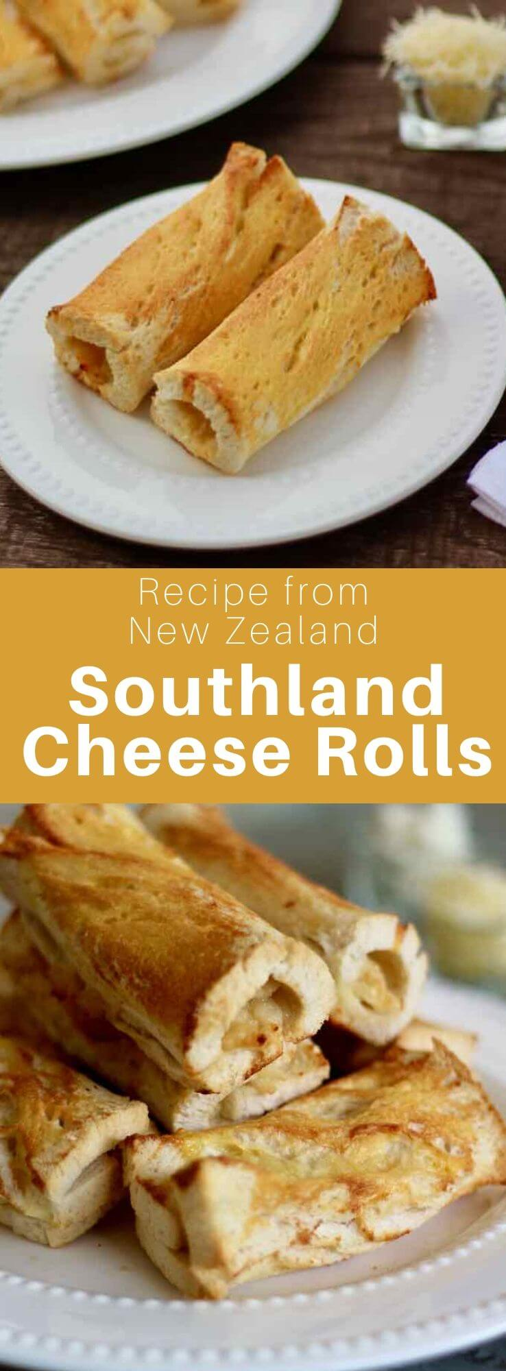 The New Zealand Southland cheese roll is white bread spread with a sauce of evaporated milk, cheese and onion powder, rolled and toasted. #NewZealand #WorldCuisine #196flavors