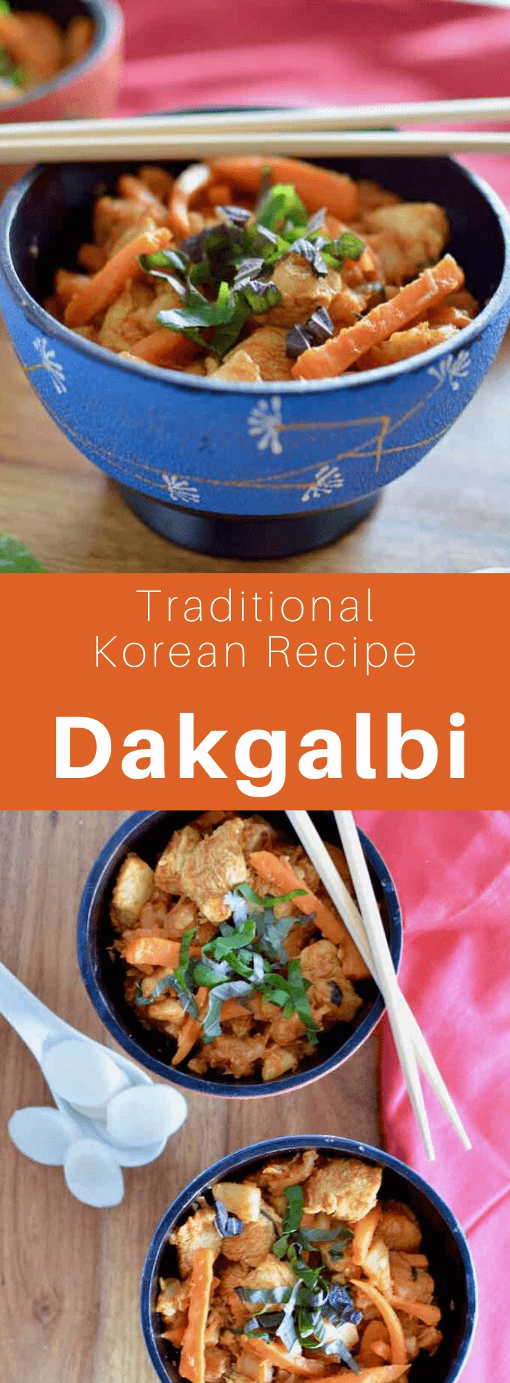 Dak galbi or dakgalbi (닭 갈비), is a Korean dish consisting of spicy chicken sautéed in a sauce made from gochujang, with sweet potato, cabbage, shiso leaves, green onions, tteok and other ingredients. #KoreanFood #KoreanRecipe #KoreanCuisine #WorldCuisine #196flavors