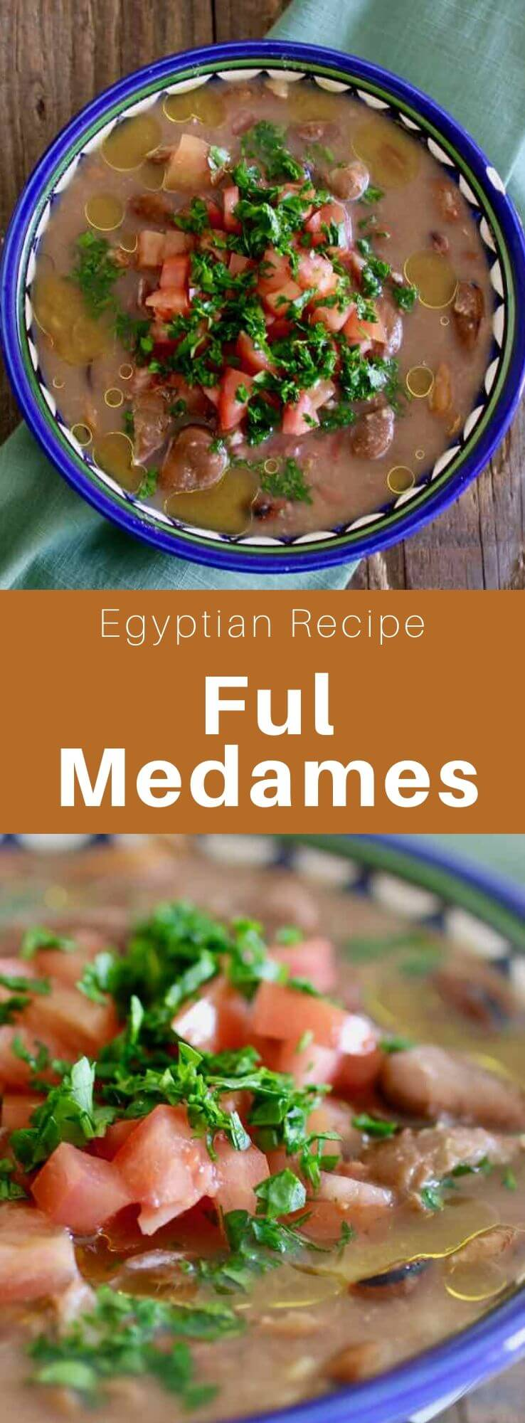 Ful medames are a vegan breakfast from Egypt and the Middle East made with fava beans, lemon juice, garlic, olive oil and cumin. #Egypt #EgyptianCuisine #EgyptianFood #EgyptianRecipe #WorldCuisine #196flavors