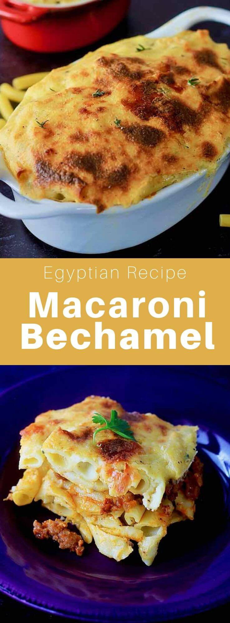 Macaroni bechamel is a popular dish from Egypt that is prepared with spicy ground beef between layers of penne with béchamel. #Egypt #EgyptianCuisine #EgyptianFood #EgyptianRecipe #WorldCuisine #196flavors