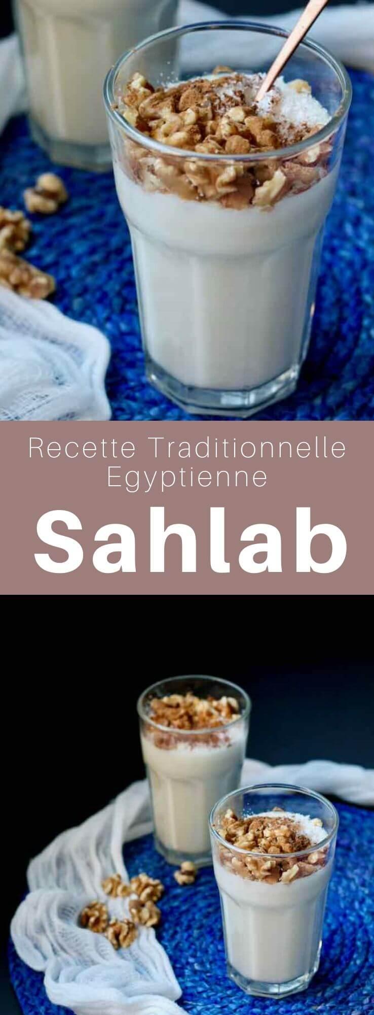 Le sahlab (salep) est une boisson chaude crémeuse populaire en Égypte à base de sahlab obtenu à partir des tubercules séchés d'une orchidée. #Egypte #RecetteEgyptienne #CuisineEgyptienne #CuisineDuMonde #196flavors