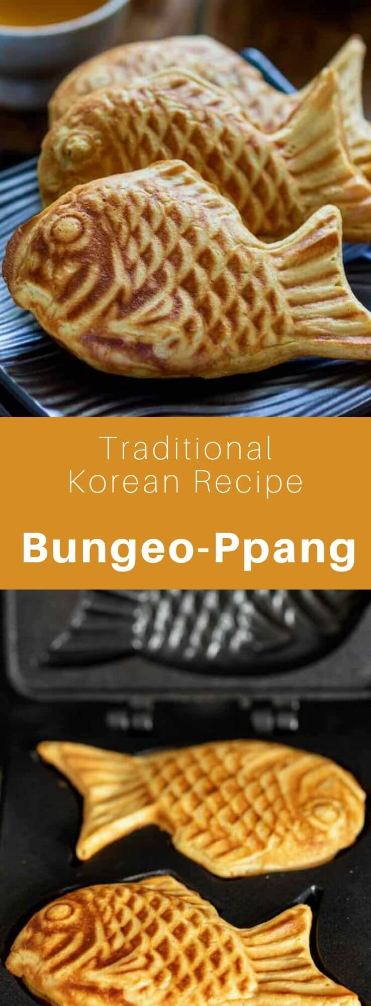 Bungeo-ppang (붕어빵) is a Korean fish-shaped pastry made from batter stuffed with sweetened red bean paste or other ingredients. #KoreanFood #KoreanRecipe #KoreanCuisine #WorldCuisine #196flavors