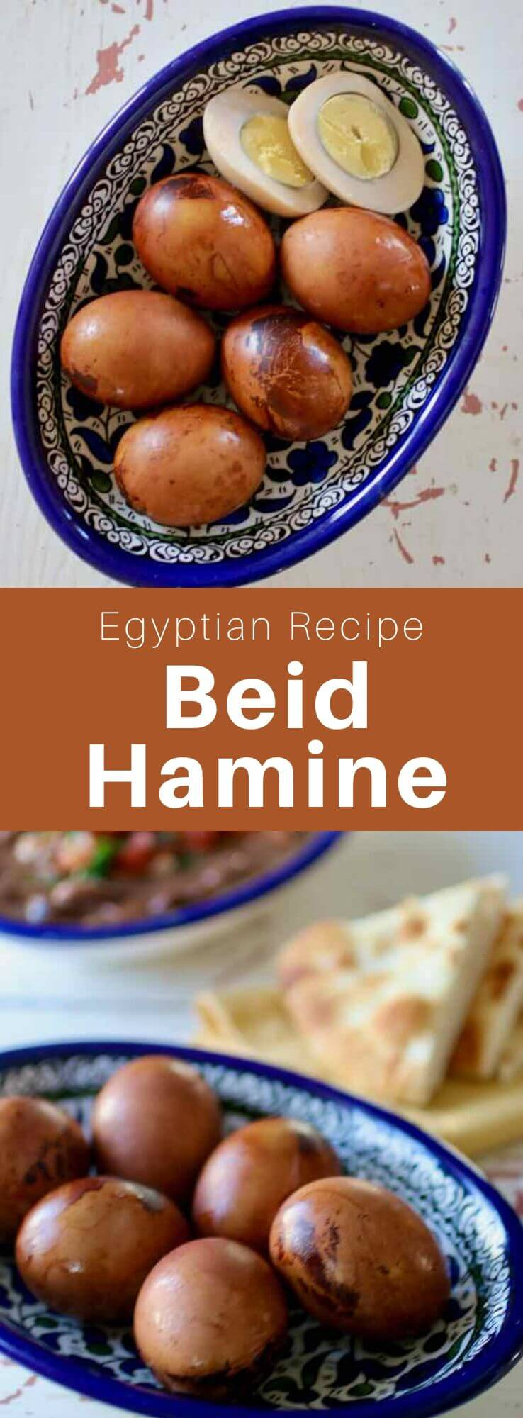 Beid hamine is a tradition of Sephardic Jewish cuisine. They are long simmered eggs found in Egypt, North Africa and Spain. #Egypt #EgyptianCuisine #EgyptianFood #EgyptianRecipe #WorldCuisine #196flavors