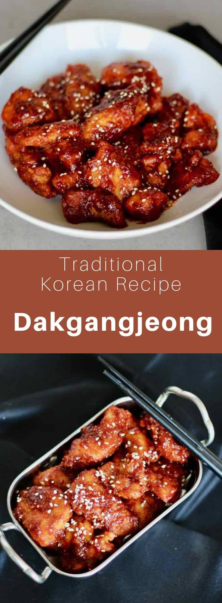 Dakgangjeong is a Korean dish of chicken that is fried twice and then sautéed in a sweet, sour, spicy, thick, and slightly sticky sauce. #KoreanFood #KoreanRecipe #KoreanCuisine #WorldCuisine #196flavors