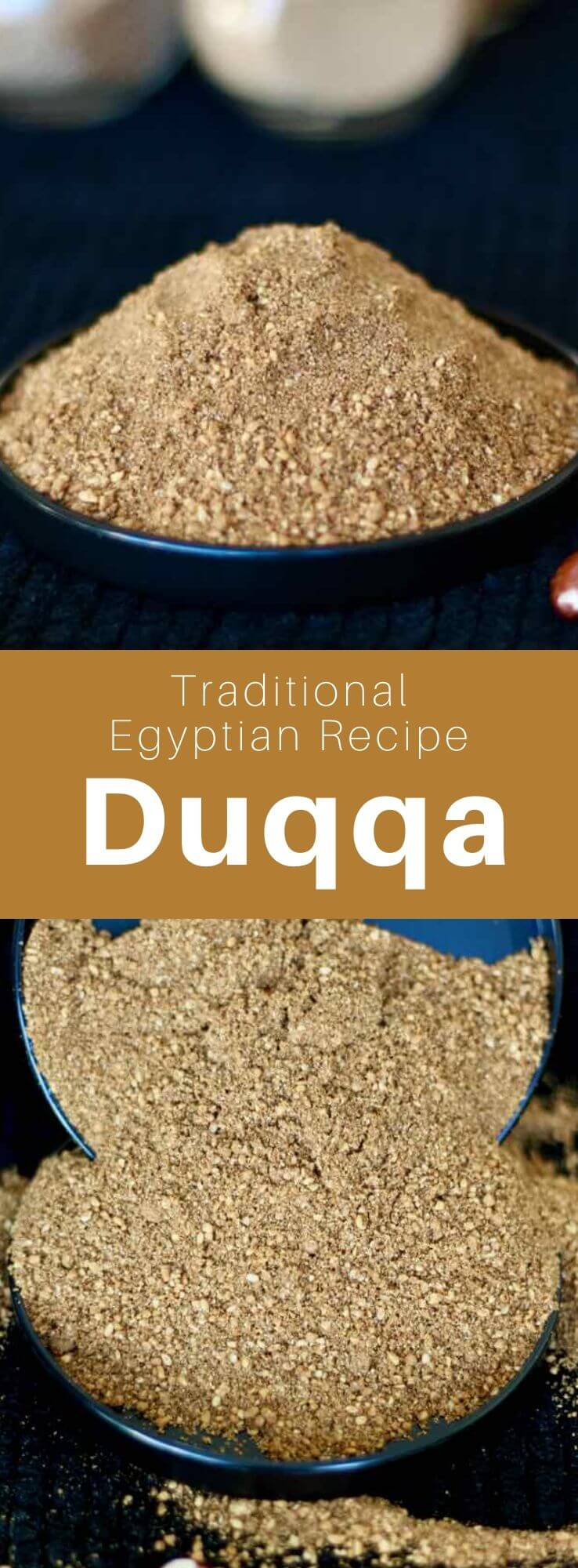 Dukkah is a blend of roasted spices, seeds and dried fruits, coming from Egypt and popular in the Middle East, Ethiopia, Australia and New Zealand. #Egypt #EgyptianCuisine #EgyptianFood #EgyptianRecipe #WorldCuisine #196flavors