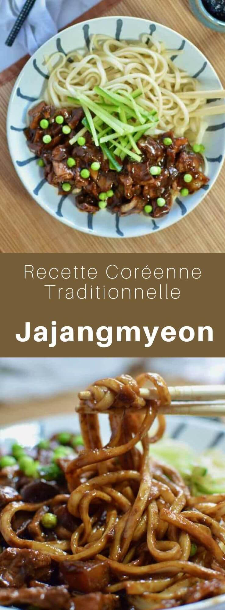 Le jajangmyeon est un plat coréen à base de nouilles agrémentées d'une pâte de soja noire fermentée, d'oignons, de courgettes et de pommes de terre. #Coree #CoreeDuSud #CoreeDuNord #CuisineDuMonde #196flavors