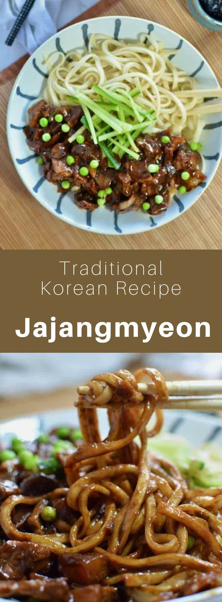 Jajangmyeon (짜장면) is a Korean specialty made from noodles with a fermented black soybean paste, onions, zucchini and potatoes. #KoreanFood #KoreanRecipe #KoreanCuisine #WorldCuisine #196flavors