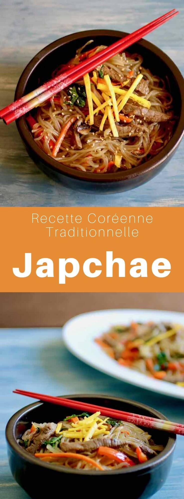 Le japchae ou chapchae (잡채) est un plat coréen très populaire composé de dangmyeon (당면), des nouilles de patates douces et de légumes, avec ou sans viande. #Coree #CoreeDuSud #CoreeDuNord #CuisineDuMonde #196flavors