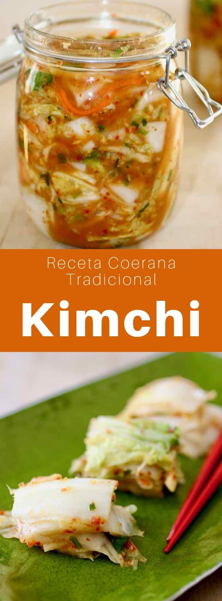 El kimchi es un condimento tradicional coreano, generalmente hecho de vegetales salados y fermentados como la col china y el rábano blanco.