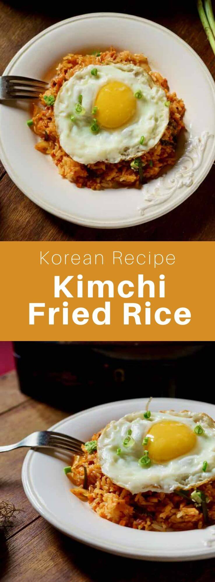 Kmchi fried rice or kimchi-bokkeum-bap (김치 볶음밥) is a variety of bokkeum-bap (fried rice) popular in Korea. Fried rice with kimchi is mainly composed of kimchi and rice, as well as other ingredients, such as diced vegetables or meat such as spam. #KoreanFood #KoreanRecipe #KoreanCuisine #WorldCuisine #196flavors