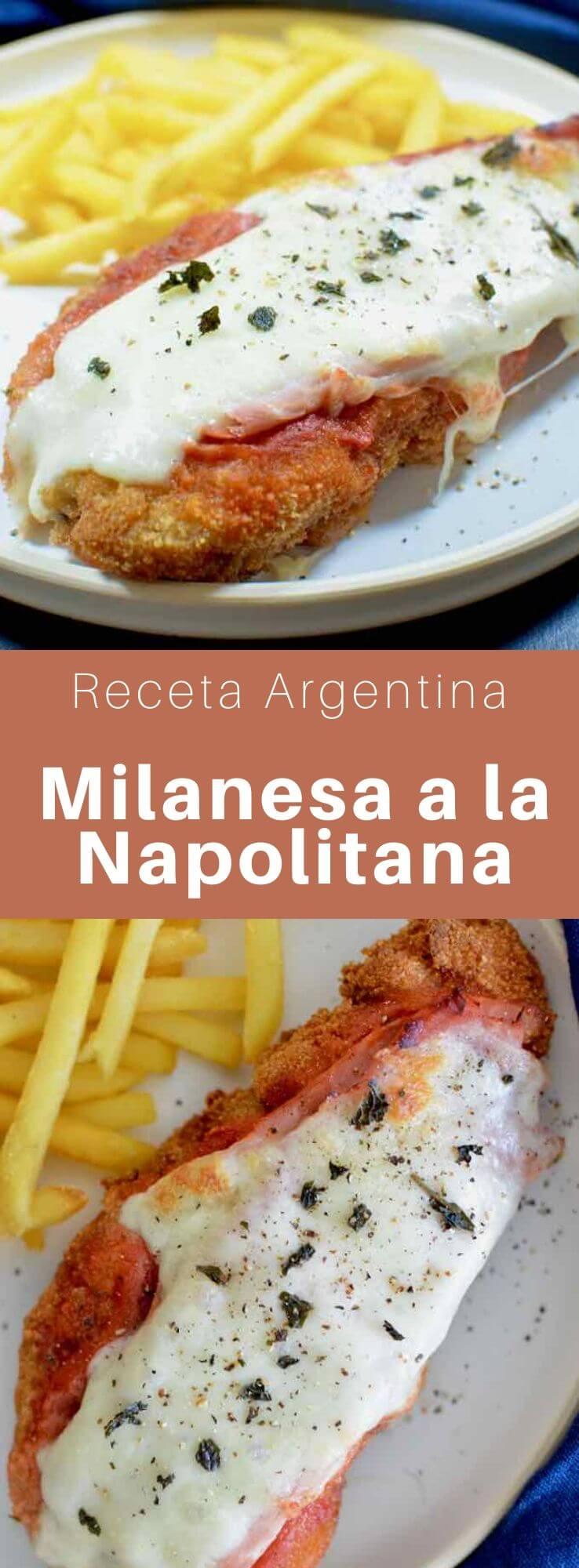 La milanesa a la napolitana es un plato típico de la cocina argentina que consiste en carne empanada y frita cubierta con salsa de tomate, jamón y mozzarella.