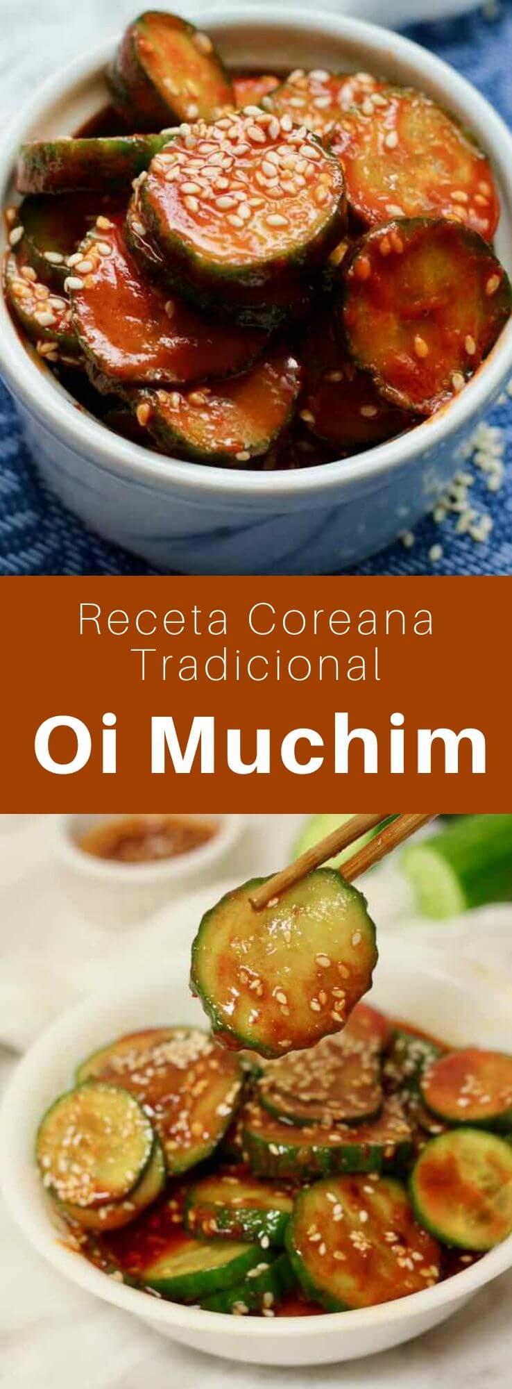 El oi muchim es una deliciosa ensalada tradicional de Corea que se prepara con pepino y hojuelas de pimiento rojo.