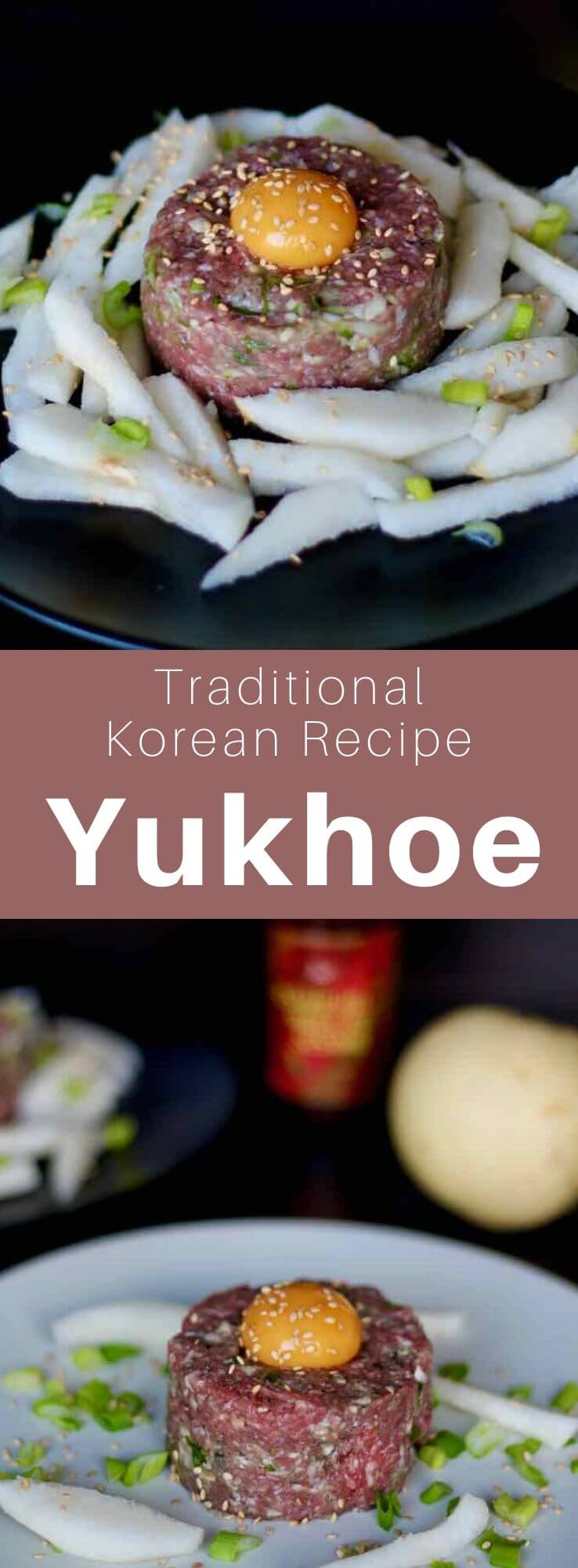 El yukhoe es uno de los hoe (platos crudos) coreanos más populares. Se prepara con carne cruda sazonada y se acompaña con pera asiática.