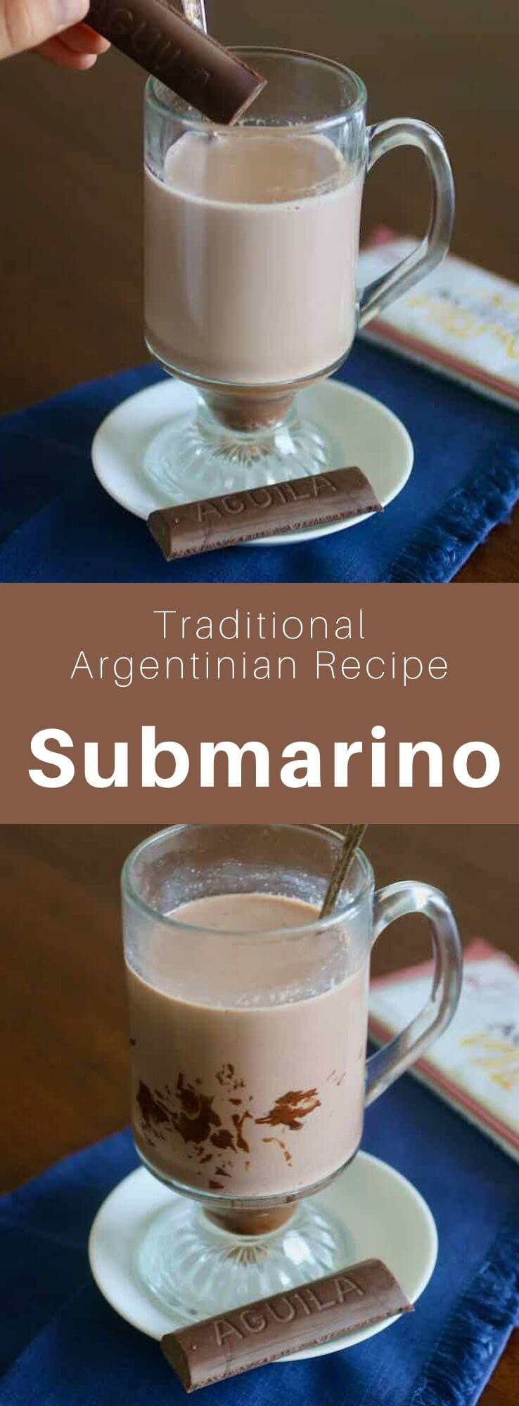 El submarino is a hot chocolate from Argentina and Uruguay, in which the chocolate bar is like the submarine in a glass of hot milk. #Argentina #ArgentinianRecipe #ArgentinianFood #ArgentinianCuisine #WorldCuisine #196flavors