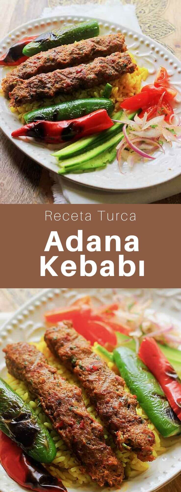 El Adana kebab (Adana kebabı), también conocido como kıyma kebabı, es un pincho largo de carne de cordero molida y grasa de cola de cordero, que se asa a la parrilla sobre carbones.