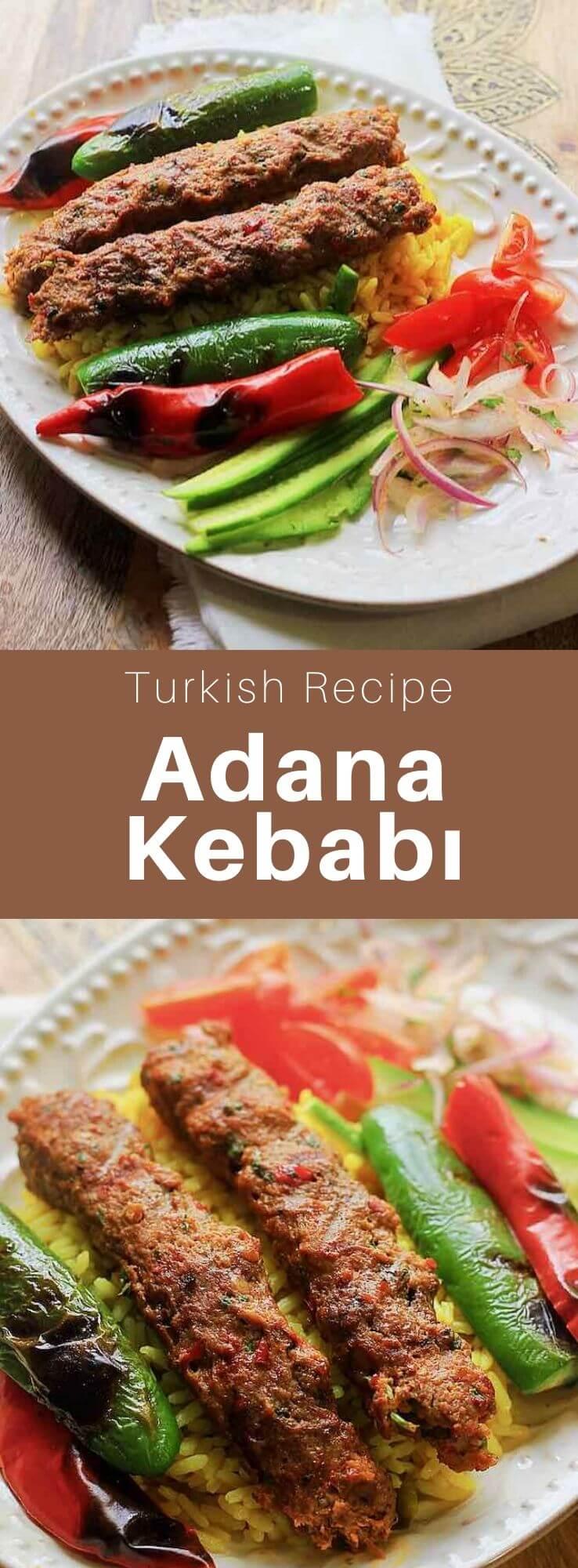 Adana kebab (Adana kebabı), also known as kıyma kebabı, is a long skewer of ground mutton, and mutton tail fat, grilled on a charcoal barbecue. #Turkey #Turkish #TurkishRecipe #TurkishFood #TurkishCuisine #WorldCuisine #196flavors