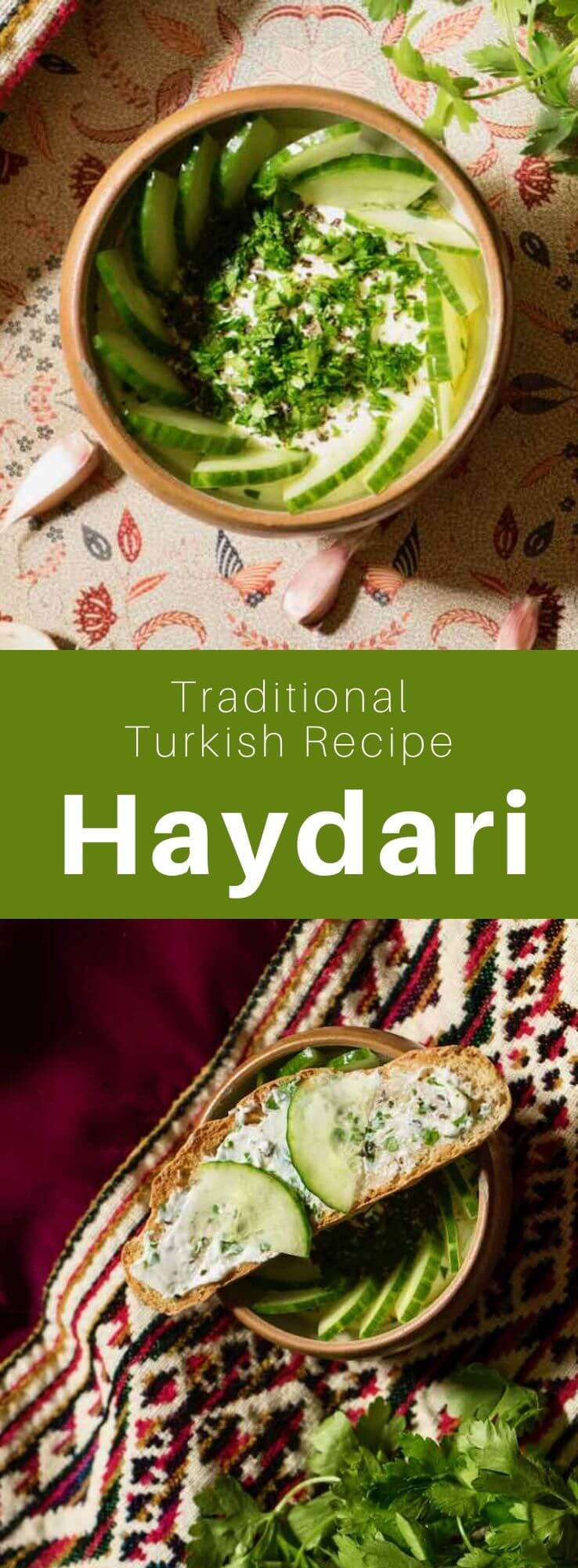 Haydari, an essential mezze in Turkish cuisine, is prepared with labneh, garlic and herbs. It is similar to tzatziki (cacık in Turkish) but more salty, more acidic and with a thicker consistency. #Turkey #Turkish #TurkishRecipe #TurkishFood #TurkishCuisine #WorldCuisine #196flavors