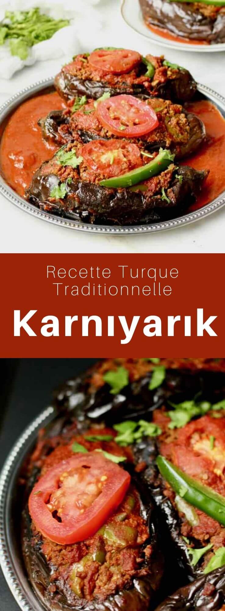Le karnıyarık (éventré en turc) est un plat turc composé d'aubergines farcies d'un mélange de viande hachée, d'oignon, d'ail, de tomate et de poivron dont la version végétarienne est l'imam bayıldı. #Turquie #RecetteTurque #CuisineTurque #CuisineDuMonde #196flavors