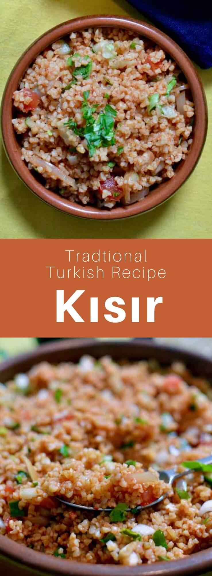 Kısır is a mezze found in Turkish and Kurdish cuisines, that is similar to tabbouleh. The main ingredients are fine bulgur, parsley and tomato purée. #Turkey #Turkish #TurkishRecipe #TurkishFood #TurkishCuisine #WorldCuisine #196flavors