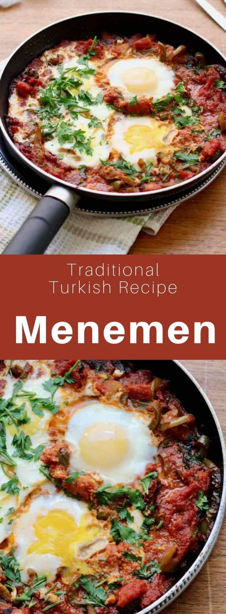 Menemen is a traditional Turkish dish of eggs, tomato, green pepper, and onion cooked in olive oil. It is similar to shakshuka. #Turkey #Turkish #TurkishRecipe #TurkishFood #TurkishCuisine #WorldCuisine #196flavors