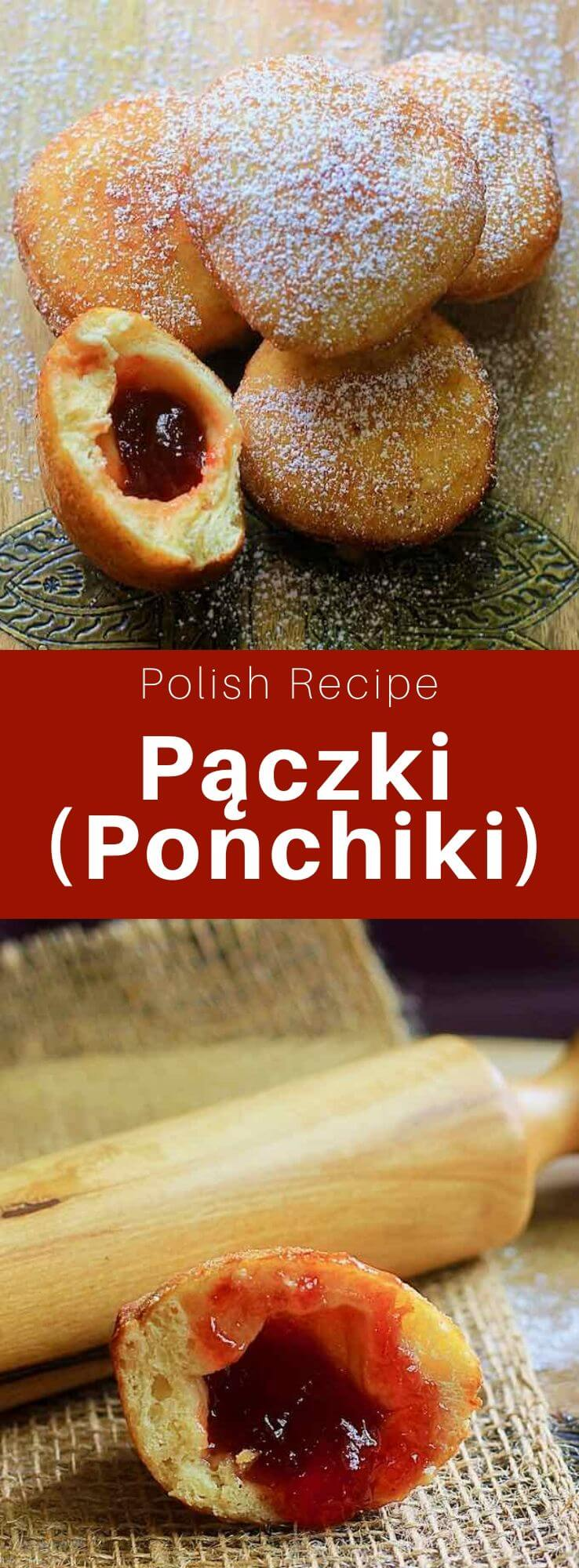 The pączki (or ponchik) are traditional Polish donuts, also popular in Central and Eastern Europe, that are filled with rose petal jam or fruit jam. #Russia #Poland #Russian #Polish #RussianRecipe #PolishRecipe #RussianFood #PolishFood #WorldCuisine #196flavors