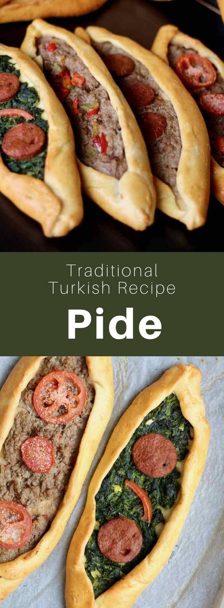 Nicknamed the Turkish pizza, pide is a boat-shaped bread topped with various ingredients, including meat and cheese. It is close to the lahmacun. #Turkey #Turkish #TurkishRecipe #TurkishFood #TurkishCuisine #WorldCuisine #196flavors