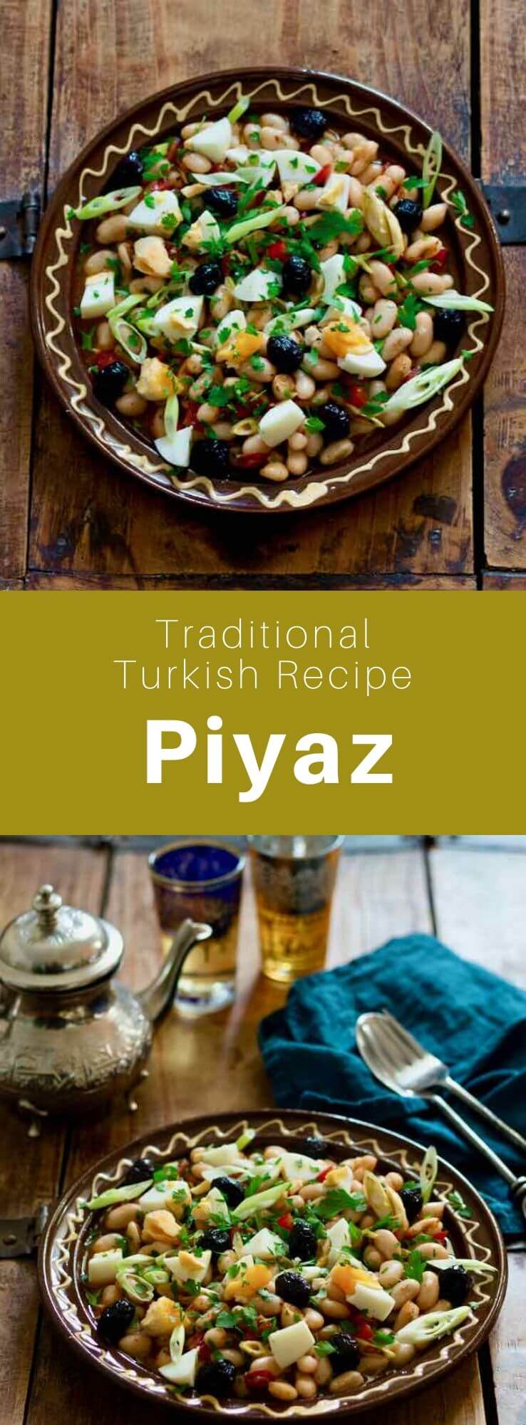 Piyaz is one of the main mezes in Turkish cuisine. It is a salad that is prepared with white beans, onion, spices and herbs. #Turkey #Turkish #TurkishRecipe #TurkishFood #TurkishCuisine #WorldCuisine #196flavors
