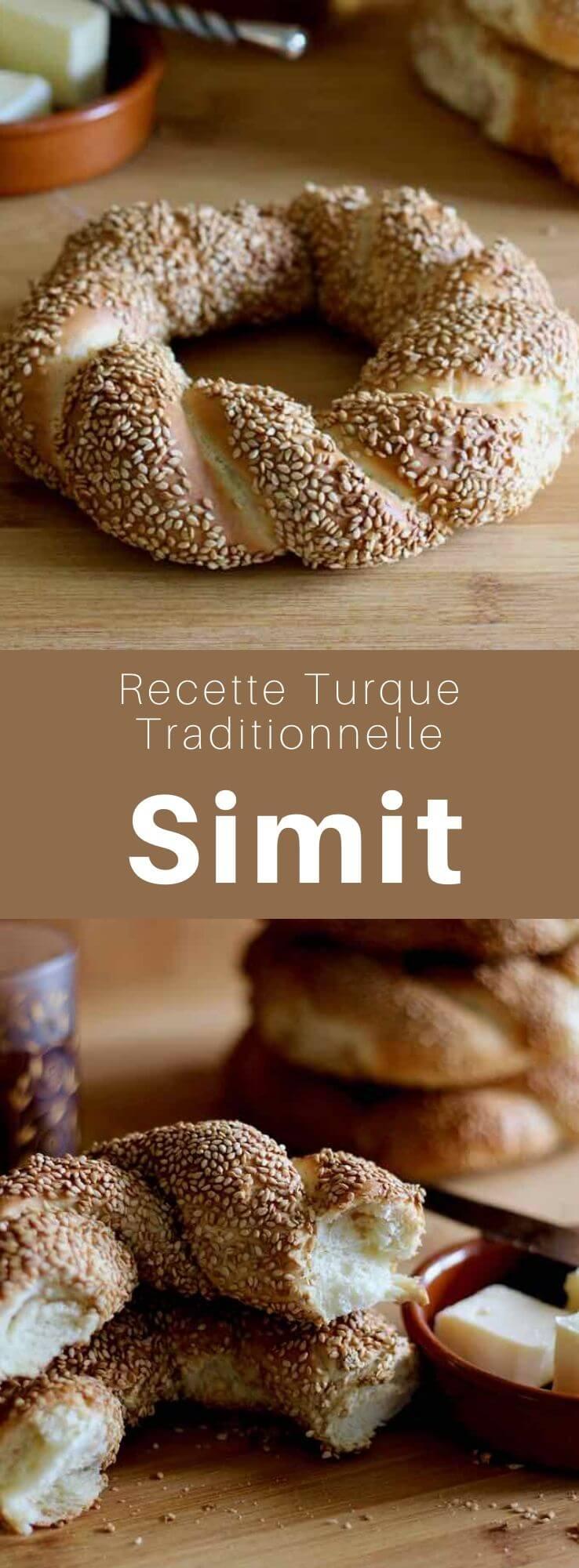 Le simit est un pain turc en forme d'anneau composé d'une croûte épaisse de graines de sésame, appelé également gevrek ou koulouri, et surnommé bretzel turc. #Turquie #RecetteTurque #CuisineTurque #CuisineDuMonde #196flavors