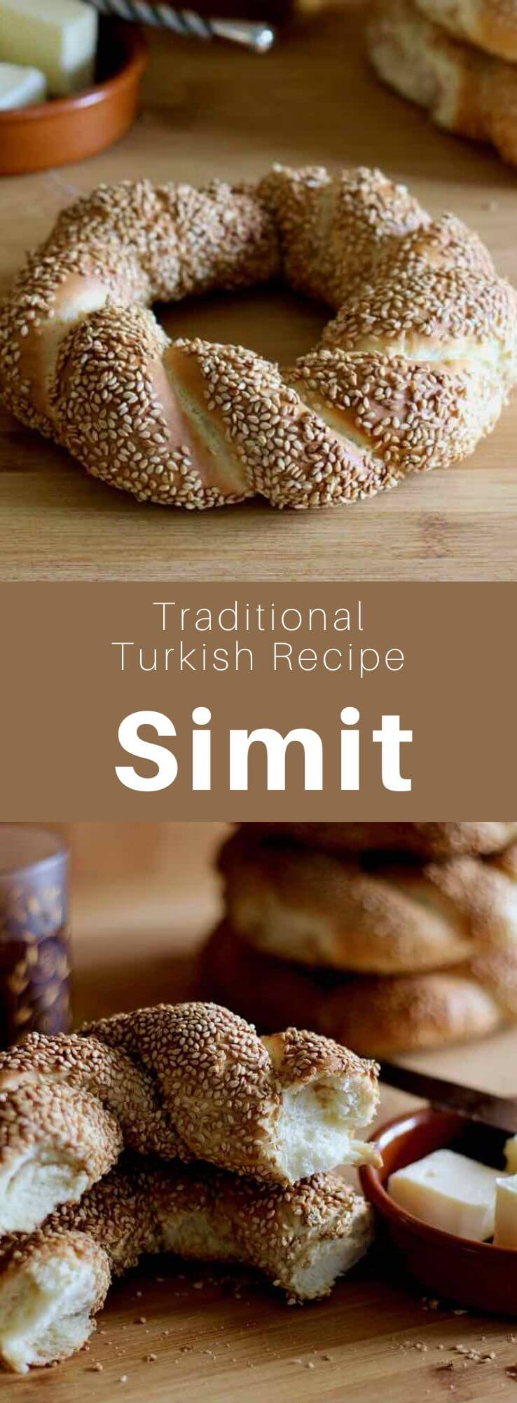 Simit is a Turkish ring-shaped bread made with a thick crust of sesame seeds, also called gevrek or koulouri, and nicknamed Turkish pretzel. #Turkey #Turkish #TurkishRecipe #TurkishFood #TurkishCuisine #WorldCuisine #196flavors