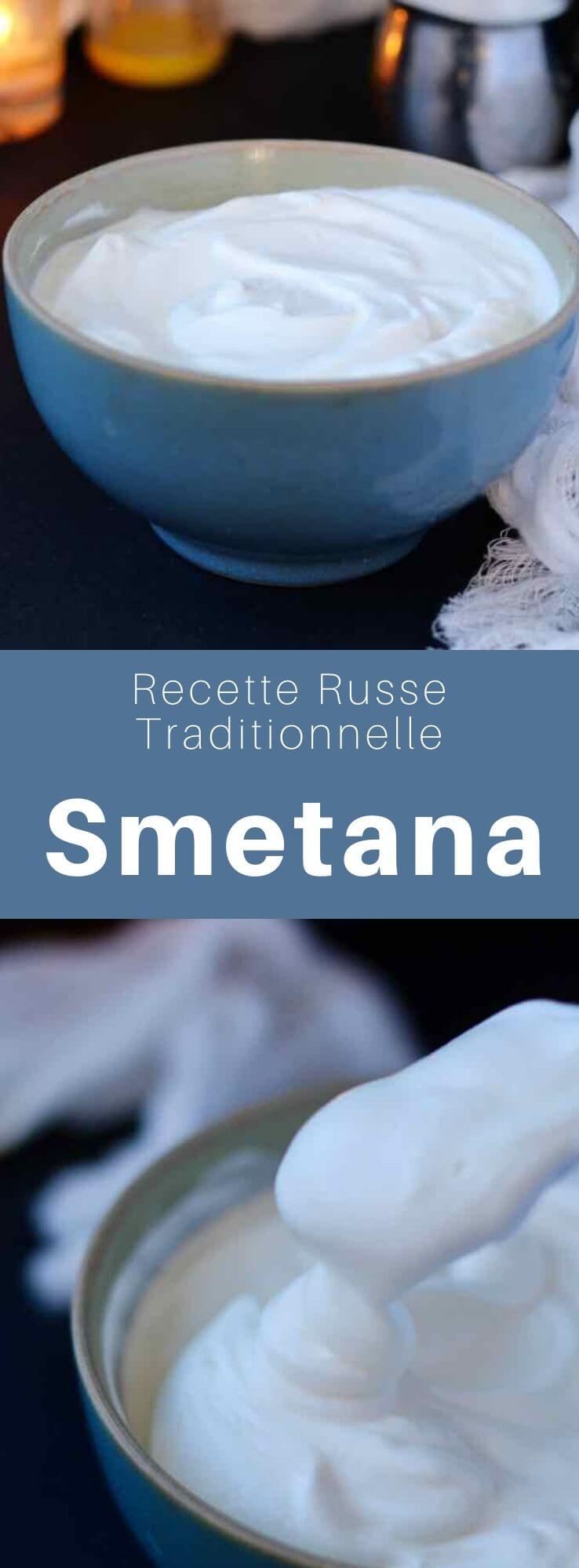 La smetana est un produit laitier crémeux soumis à une fermentation lactique, largement utilisé en Russie et dans la région, équivalente à la crème sure. #Russie #RecetteRusse #CuisineRusse #CuisineDuMonde #196flavors