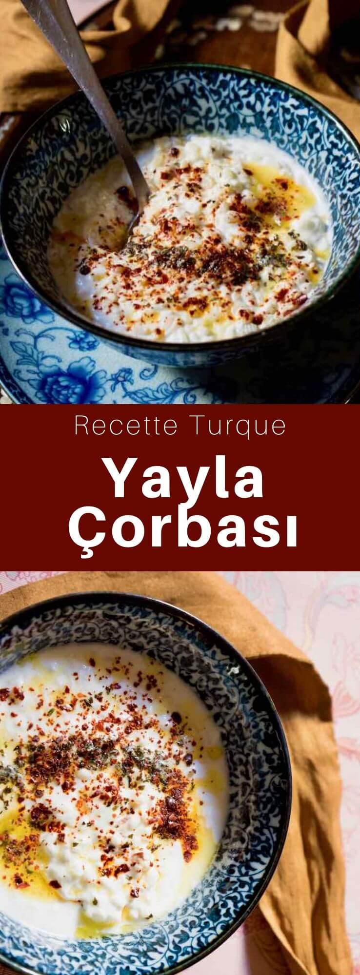 La yayla çorbası également connue sous le nom de yoğurtlu çorba, est une soupe au yaourt et au riz, parfumée à la menthe, traditionnelle de la cuisine turque. #Turquie #RecetteTurque #CuisineTurque #CuisineDuMonde #196flavors